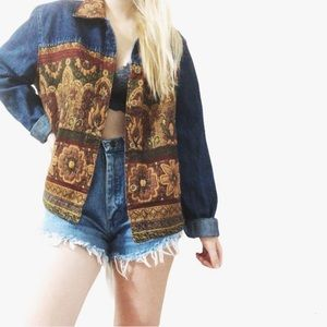 Vtg Coldwater Creek denim tapestry jacket (L)